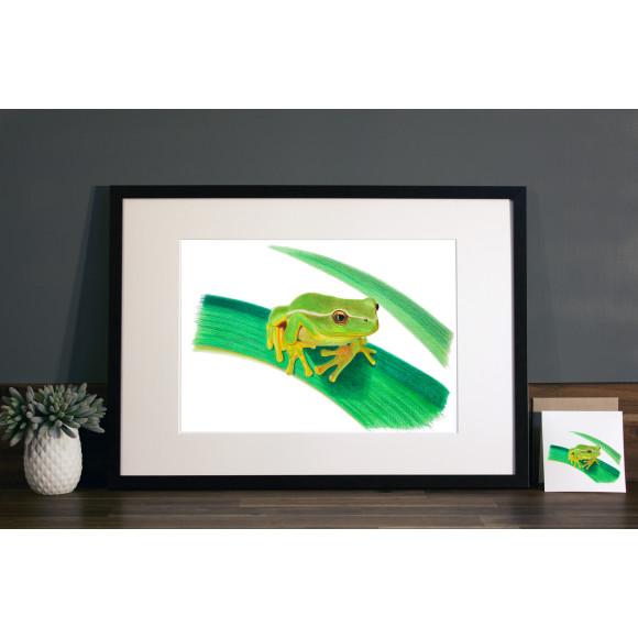 Frog print A3 mocha frame