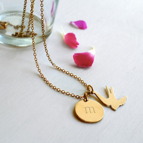 Gold Initial disc and Swallow necklace
