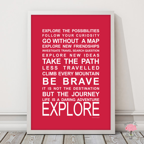 Expressions on the move explore print in Red, with optional Australian-made white timber frame