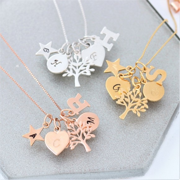 mini sterling silver, rose gold and gold tree of life charm necklace personalised with letter charms
