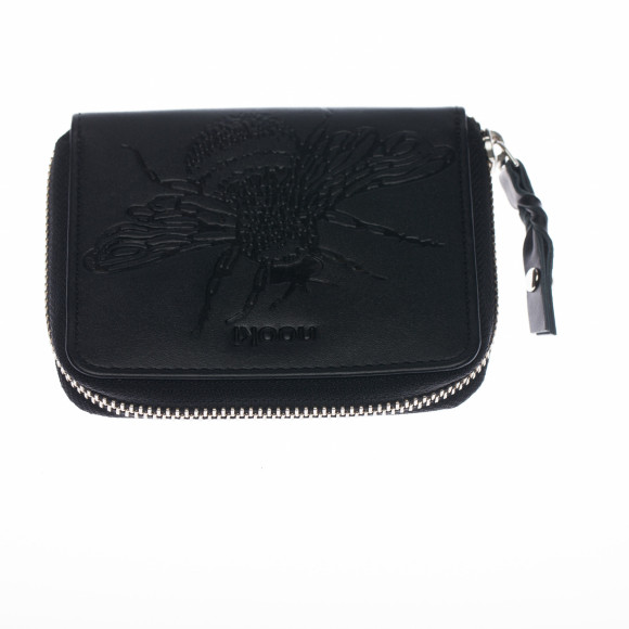 Black embossed bee purse front