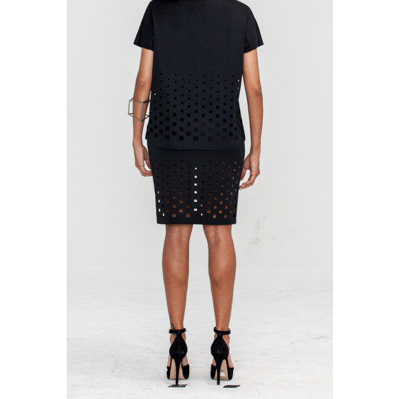 Geometric Laser Cut Pencil Skirt black