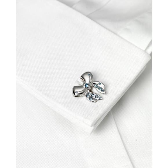 Annabelle - Sapphire Swarovski Crystal Cufflinks on shirt