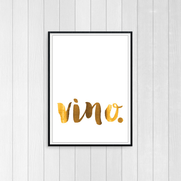 vino - white - Goldfoil Art Print for Wine Lovers