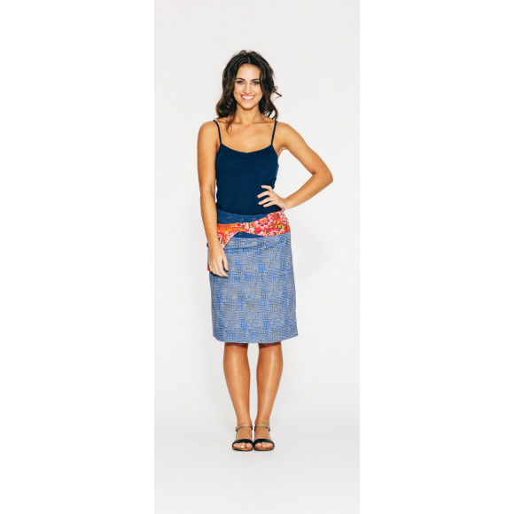 Rosanna Skirt Long - Blue Spots