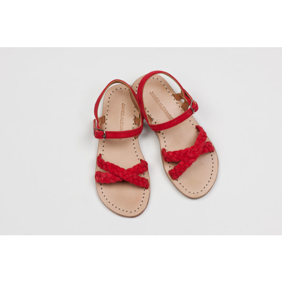 Santorini Sandal in Watermelon Red Suede