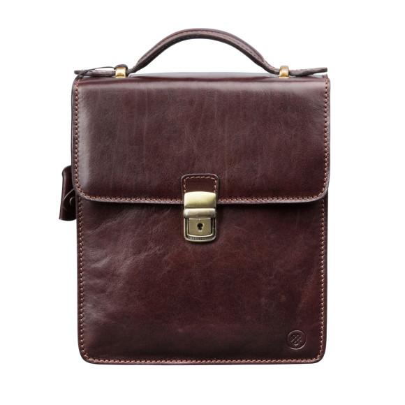 Chocolate brown mens shoulder bag