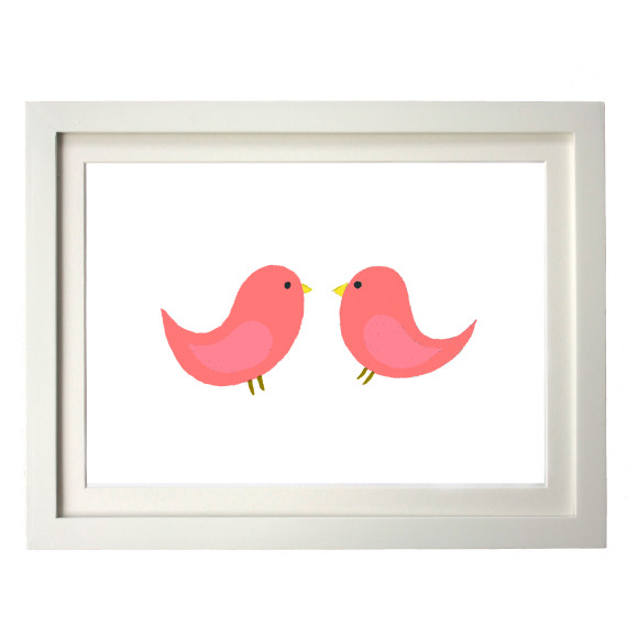 Twin coral birds white frame