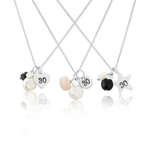 30th birthday necklaces with opal - black, pink and white for October birthdays