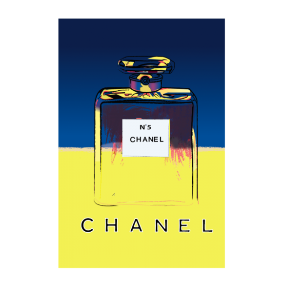 Chanel No5 Vintage Poster Blue Yellow