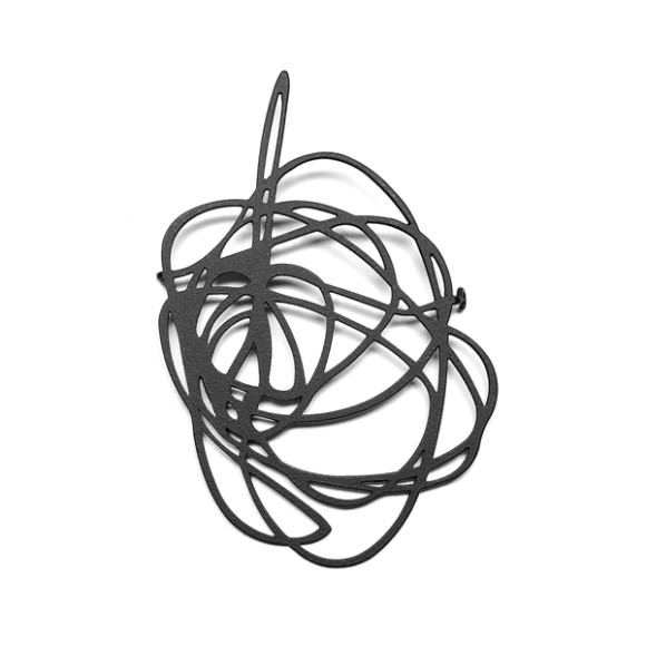 Scribble Brooch-Black