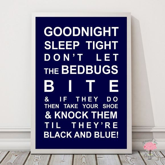Goodnight Sleep Tight Print in Navy with optional Australian-made white timber frame