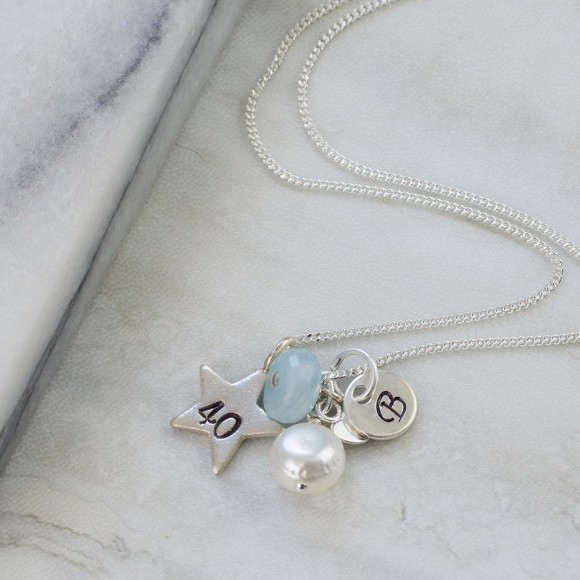 40th birthday necklace with Aquamarine for March