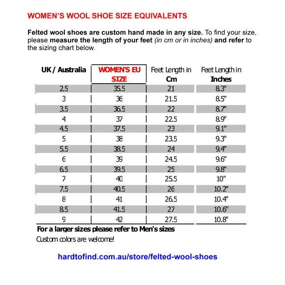 sizing table