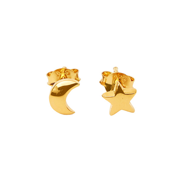 star & moon studs gold