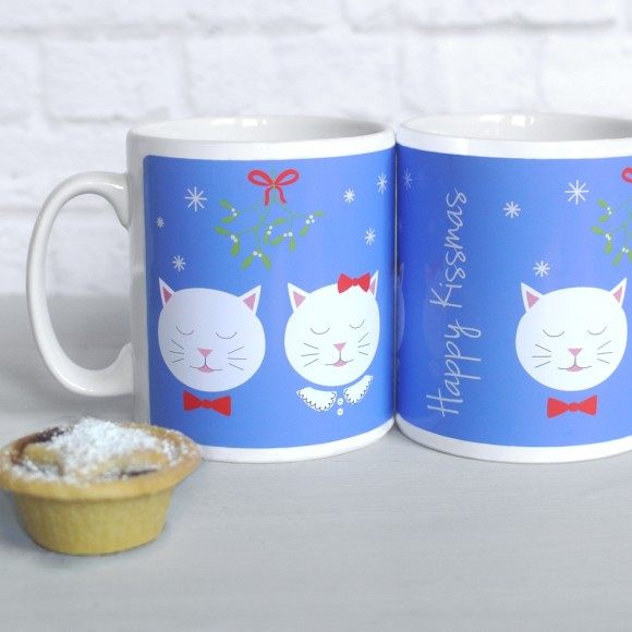 Frida Happy Kissmas mugs, blue