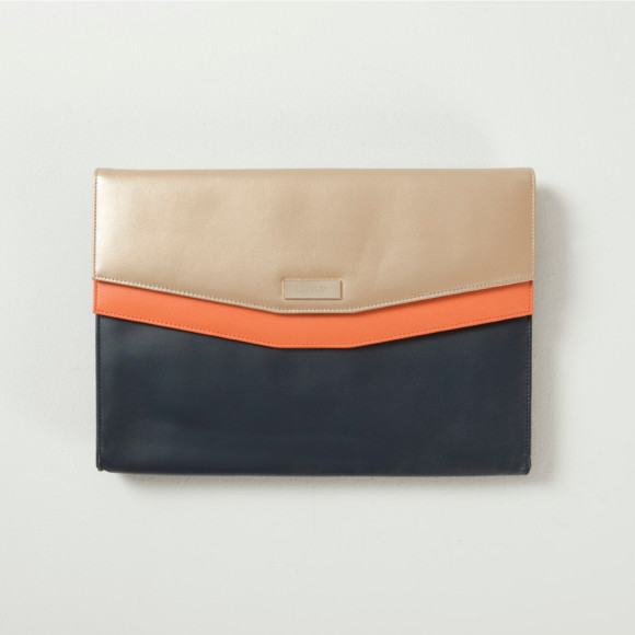Stanhope satchel in navy with blush & gold pockets