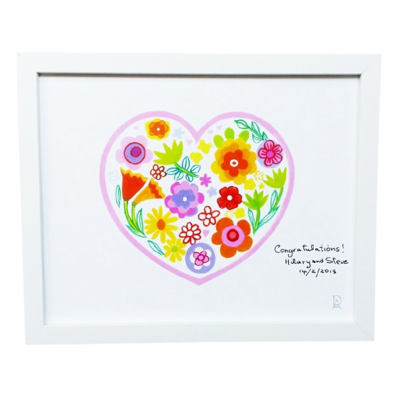 Personalised heart framed art pront
