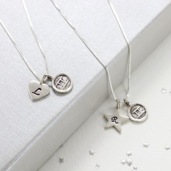 personalised sterling silver zodiac disc and letter charm necklace
