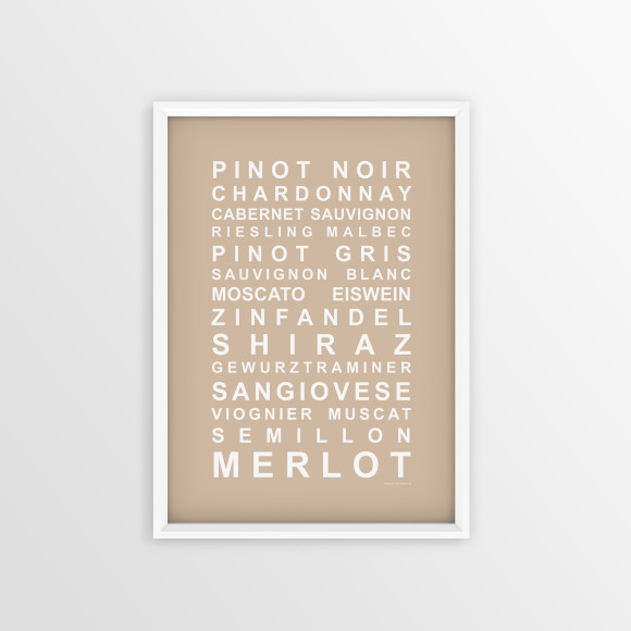 A Nice Drop of Wine Print in Latte, with optional Australian-made white timber frame