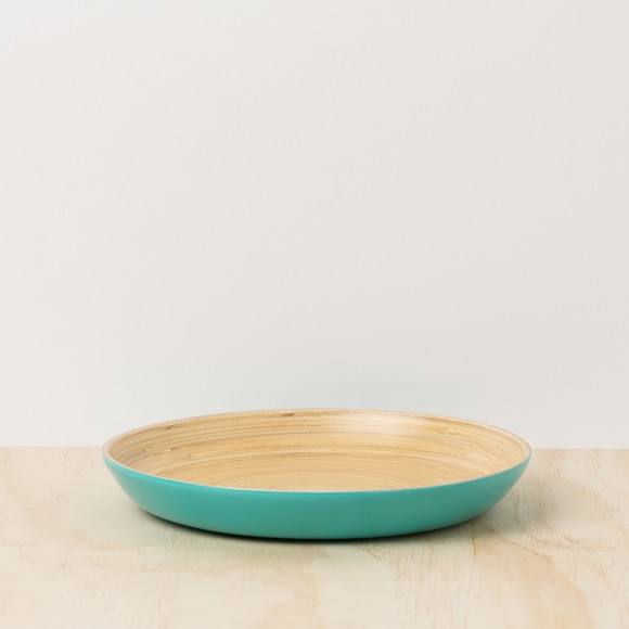 Turquoise Lacquer Bamboo Tray - Large