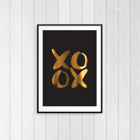 XOXO Goldfoil Art Print - black