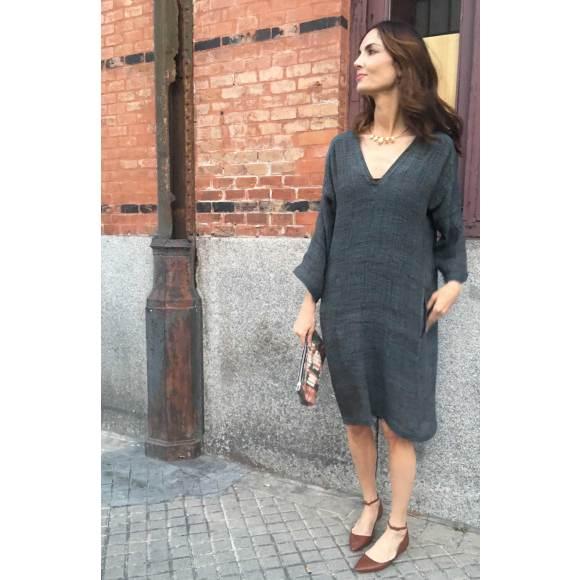 Hissia gold Shield necklace in Spanish top model Eugenia Silva