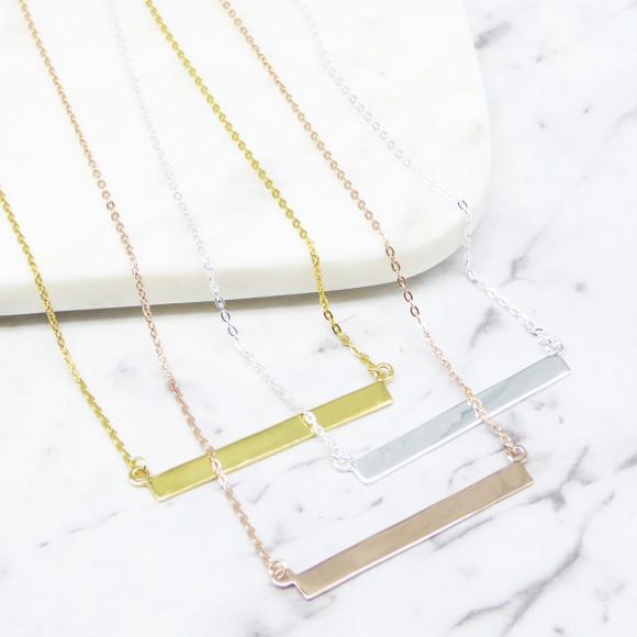 bar necklace silver gold rosegold
