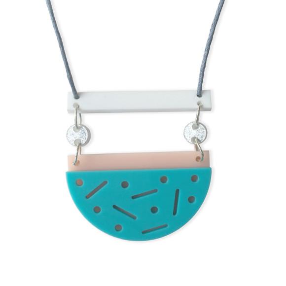 Confetti necklace in aqua, blush, white