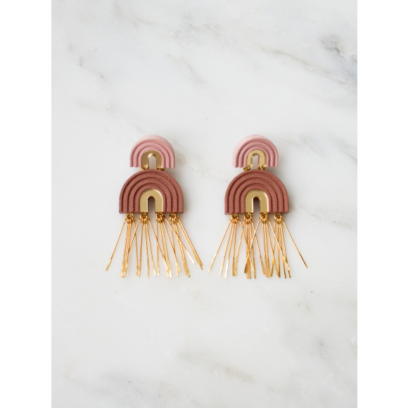Two Arch Tassel Earrings - Pale Pink
