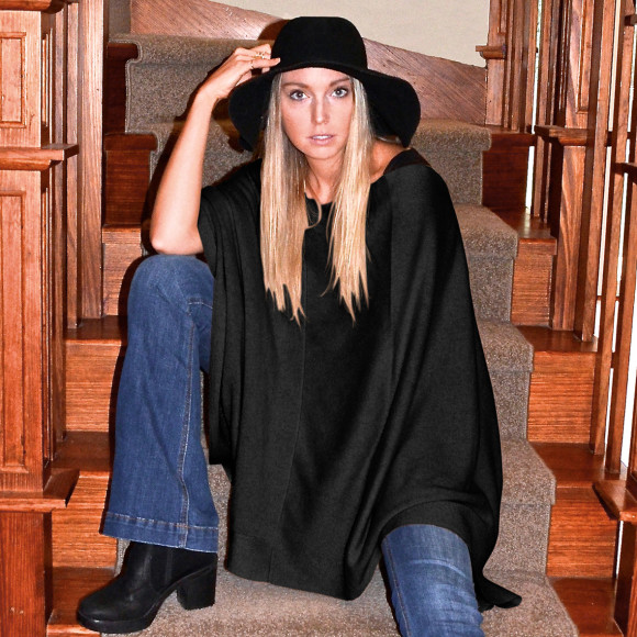 black long poncho
