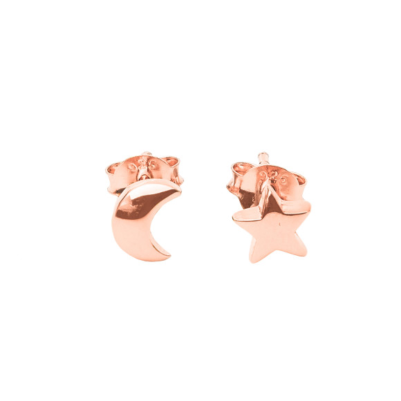 star & moon studs rose gold