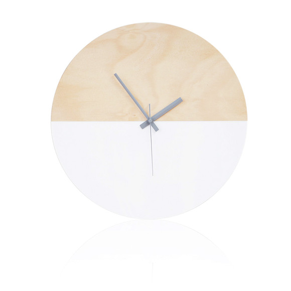 Half moon wall clock in white - 40cm