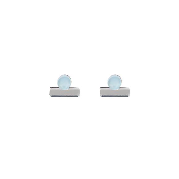 Dot Dash Studs - Pastel Blue / Silver