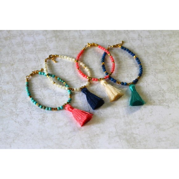 Turquoise, mother of pearl, pink coral, lapis stones