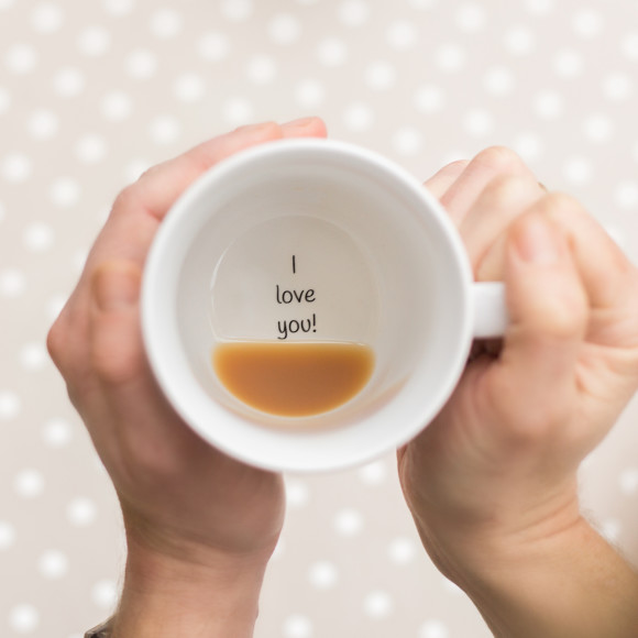 proposal ideas, message inside of a mug saying i love you