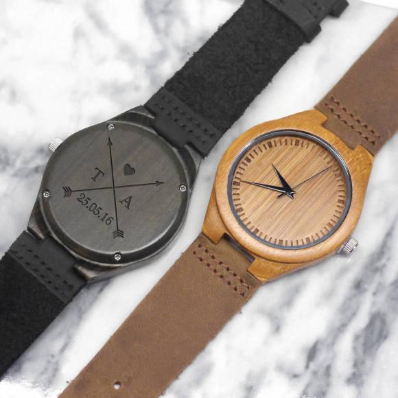Personalised Walnut Wood Men's Watch
