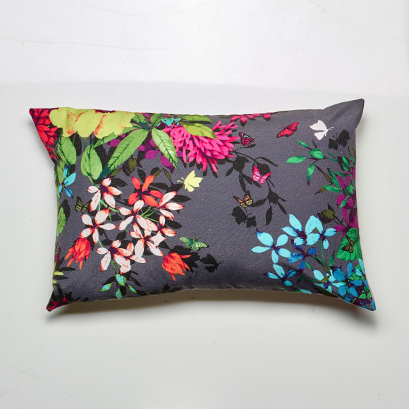 Tropicana cushion in charcoal