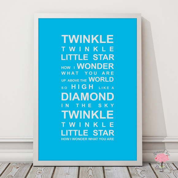 Twinkle Twinkle Print in Sky Blue, with optional Australian-made white timber frame