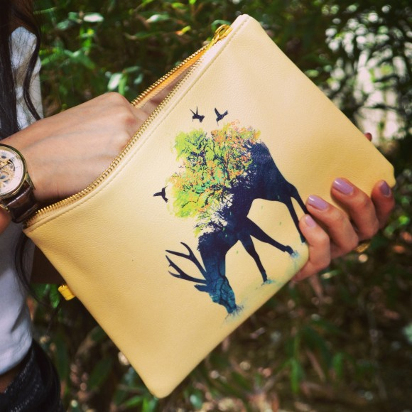 Watering Deer Vegan Leather Pouch Clutch Bag