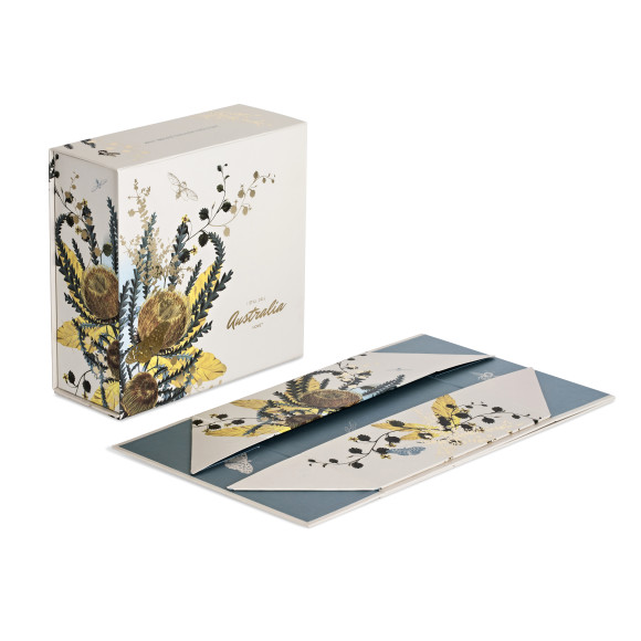 Box comes flat-packed and is instantly made up into a box making the most of magnetic closure in the lid and sides
