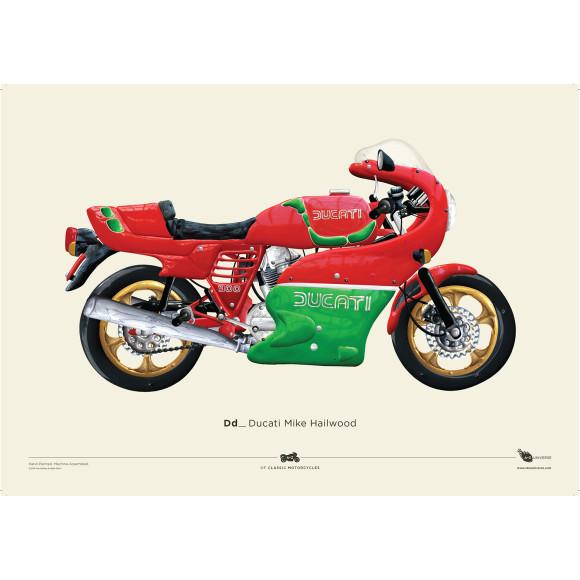+Free A2 Ducati Mike Hailwood Print