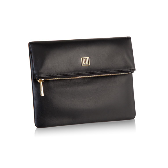 100% Italian Leather Foldover Clutch