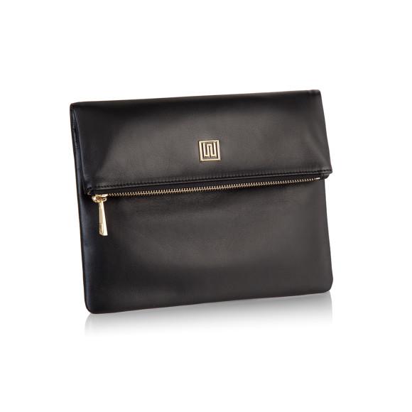 100% Italian Leather Foldover Clutch