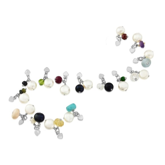 gemstone birthstone and pearl cluster charms