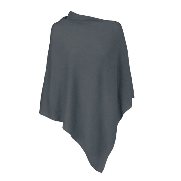 Slate Grey 100% Cashmere Poncho