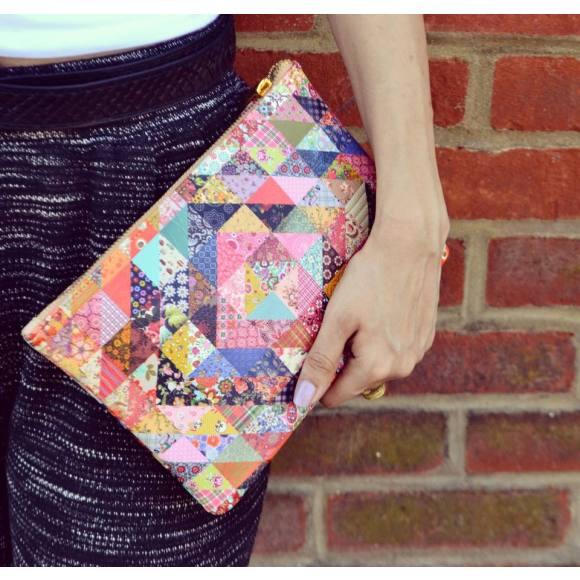 Grandmas Quilt Patchwork Vegan Leather Pouch Clutch Bag