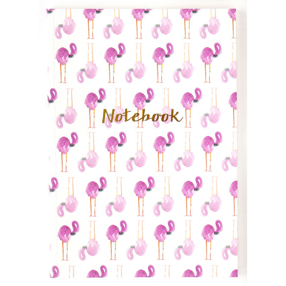 Flamingo A4 96 page,lined notebook.