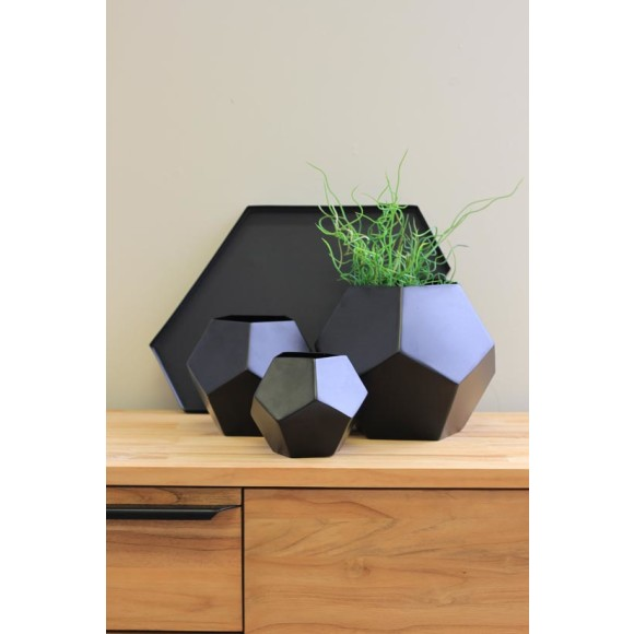 Black vases with black plate