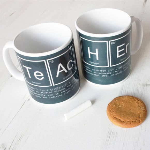 Elements of a teacher chalkboard mug